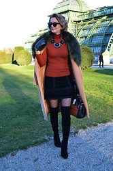 Butterfly Petty - Zaful Coat, Morgan Skirt, Mojito Boots, Guess Bag, Primark Blouse - Furry collar