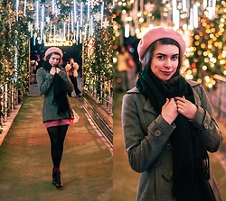Ana B - Laulhere Pink Beret, Pull & Bear Winter Coat, Forever 21 Pink Skirt - Stay Warm