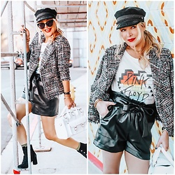Zia Domic - Cece By Cynthia Steffe Tweed Jacket, Zara Vegan Leather Shorts - Classic Rock
