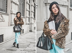Jelena Dimić - Shein Leopard Faux Fur Coat, Shein Black Chunky Sweater, Butik Fashion Tim Black Beret, Guess Black Handbag, Zara High Waist Jeans, Seaside Black Ankle Boots - I'll run away with you to another galaxy