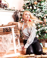Miss Casual - Lavish Alice Sequin Asymmetric Top, H&M Faux Leather Trousers - Santa, baby...see you next year :)