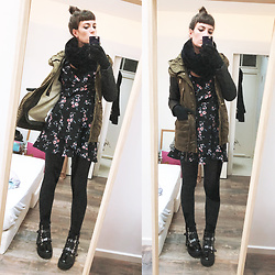♡Nelly Kitty♡ - H&M Floral Mini Dress, Zara Kaki Parka, Asos Combat Boots - OOTD#52