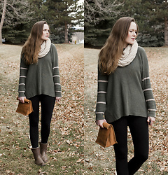 Emily S. - American Eagle Outfitters Crew Neck Sweater, Amazon Knit Scarf, Felina Leggings, The Frye Company Shearling Boots, Etsy Leather Lunchbag - Winter Green