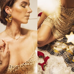 Natasha Karpova - Golden Dress, Red Sandals, Soufeel Personal Name Necklace, Golden Statement Earrings - 🌟✨★⋆GOLD IS COLD⋆★✨🌟