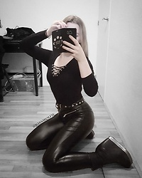 Joan Wolfie - H&M Bodysuit, Amiclubwear Pants, Jeffrey Campbell Shoes Boots - Black FTW