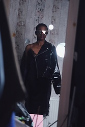 N.EE.H Hamilton - Asos Biker Jacket In Vinyl, Miss Selfridge Black Velvet Lace Slip Dress, Alissa Violet Hindsight Gold Sunglasses - Knight In Shining Pleather