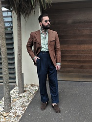 Jared Acquaro - Tolley Savile Row Bespoke Pants, Wildsmith Moc Penny Loafer - New Year Safari