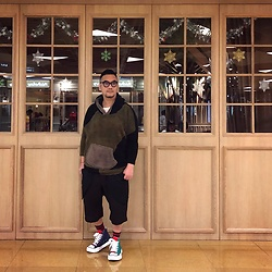 Mannix Lo - Online Shop Multicolor Fleece Hoodie, Rick Owens Layered Shorts, Miharayasuhiro Multicolor Sneakers - Try and Fail, but never Fail to Try
