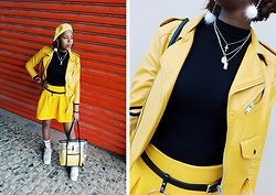 Yara Snow'z - Zara Mustard Yellow Leather Jacket, New Yorker Mustard Yellow Skirt, H&M Mustard Yellow Beret, Nike White Air Force Sneakers, Zara Vinyl Tote Bag With Inner Crossbody Bag - Black&Yellow_0401