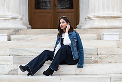 Alexandra Alexandridou - Lee Jeans Denim Jumpsuit, S.Piero Shoes, Lee Jeans White Shirt, Reiko Denim Jacket - Denim Years