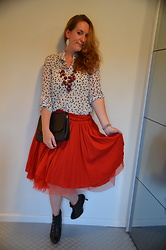 Sarah M - Primark Earrings, New Look Necklace, Primark Shirt, Fendi Clutch, H&M Skirt, Carma Booties - Jolly Polkadots