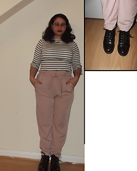 Selina - Banned By Dancing Days Striped Top, Pull & Bear Pink Trousers, Doc Martens Cherry Docs - Matchmaker, make me a match