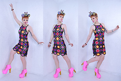 Suzi West - Sharla Tv Custom Wearable Art Headpiece, Suzi West Model Barbie Accessory Earrings, H&M Coachella Crochet Dress, Estate Sale Vintage Bracelets, Jeffrey Campbell Shoes Lita Boots - 28 April 2018