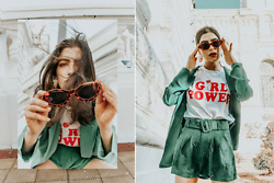 Agustina Torti - She In Girl Power Graphic Tee, She In Suit Shorts, She In Blazer, Tortoise Sunglasses - Green of envy