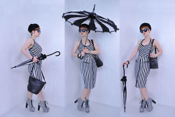 Suzi West - Hilary's Vanity Gothic Parasol, Kathleen Balbona 1960s Hat, Best Dressed Dame Sunglasses, The Closet Animal Bone Earrings, Mossimo Halter Top, Estate Sale Vintage Bracelets, Coach Leather Bag, Guess 1990s Pencil Skirt, Jeffrey Campbell Shoes Lita Boots - 13 May 2018