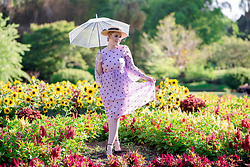 Ashleigh McCallum - Little Party Dress Dream State Lilac Polka Dot, Wittner Heels, Review Boater Hat - Practically Perfect Mary Poppins Style