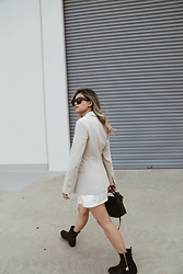 Leanne Pak - Theory Riding Jacket, Reformation Slip Dress, Tony Bianco Boots - BUSINESS CASUAL