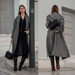 Jacky - Weill Paris Coat, Marcell Von Berlin Jumpsuit, Agneel Bag, Santoni Boots - Chic Outfit for the Festive Season