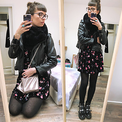 ♡Nelly Kitty♡ - Pimkie Faux Fur Infinity Scarf, Killstar Faux Leather Biker Jacket, H&M Floral Velvet Mini Dress, Asos Spiked Combat Boots - OOTD#54
