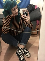 Idolsandanchors - Asos Blue Mom Jeans, H&M Orange And Black Striped Crop Top, Converse High Tops - Pinball Map