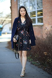 Kimberly Kong - Madewell Navy Coat, Salvatore Ferragamo Crossbody Bag, Zara Gold Shoes - Perfect for Family Get-togethers: The Black Floral Dress