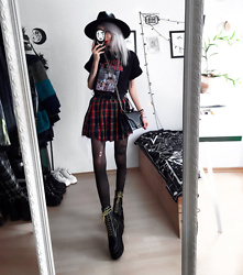 Kimi Peri - Current Mood Crimson Dress Code Plaid Skirt, Zibru Platform Boots, Sacred Hawk Star Studded Bag, Sarah Thursday Wild Spirits Tee, Killstar Omen Sigil Fedora Hat, Choker - Red & Yellow