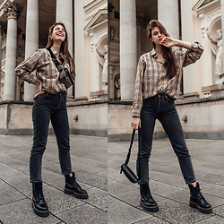Jacky - Burberry Shirt, Levi's® Jeans, Gucci Belt Bag, Dr. Martens Boots - Winter Outfit: Styling a Burberry Button-down Shirt