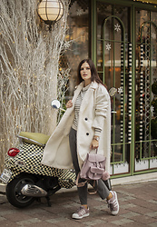 Viktoriya Sener - Shein Coat, Chicwish Sweater - WHITE TEDDY