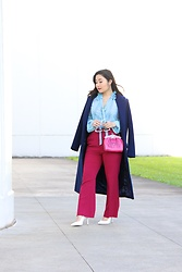 Kristen Tanabe - Stone Row Cobalt Blue Coat, Topshop Ruffle Blouse, Topshop Raspberry Flare Pants, Forever 21 White Sling Back Heels, Patricia Nash Pink Leather Purse, Marc Jacobs White Sunglasses - Keeping it Cozy Chic