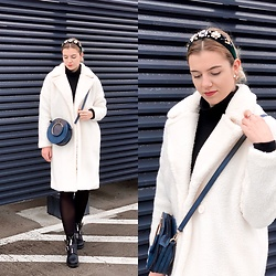 Zuza - Missguided Teddy Coat, Topshop Head Band, Zara Golf - White teddy