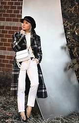 Isabel Alexander - About Us Plaid Coat, Pierre Darre White Bag, Topshop Velvet Baker Boy Hat - More on plaid coats