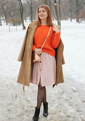 Aleksandra Siara - Reserved Sweater, Stradivarius Coat - Pink & Orange