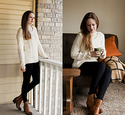 Emily S. - H&M Cable Knit Sweater, Anthropologie Ankle Boots, Felina Leggings - January Blues