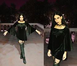 Elsa Lucía Flores - Killstar Velvet Asymetrical Top Long Bell Sleeves, Deal Sale Ankle Lace Up Boots - Into the Night