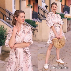 Heidi Landford - Zimmermann Tropical Print Dress, Jo Mercer Espadrilles, Cult Gaia Bamboo Ark Bag - How To Wear Tropical Print In 2019