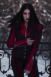Ellone Andreea - Evnoir Red And Black Jacket, The Black Ravens Corset, Evnoir Red Stripe Pants - Eternity