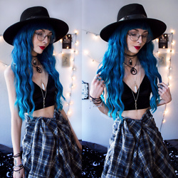 Kimi Peri - Killstar Omen Sigil Fedora Hat, Rogue + Wolf Devotion Choker, The Pretty Cult Plaid Shirt, H&M Velvet Bralette, Shades Treasures Crystal Necklace, No Face Choker, Donalovehair Blue Hair, Bloody Mary Metal Nightshade Necklace - The Blue Witch