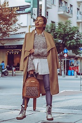 Konstantina Antoniadou - Tommy Hilfiger Leather Backpack, American Eagle Outfitters High Waisted Jeans, Asos Cropped Sweater, Nordstrom White Basic Shirt, Na Kd Camel Coat (Under $100), Dr. Martens Leather Boots - 5 ways to wear high waisted jeans