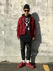 ★masaki★ - Bershka Oversized Denim Jacket, Black Flag Band Tee, Zara Pu Leather Pants, Nike Af1 - Black × Burgundy