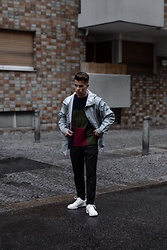 Kevin Elezaj - Nike Sneakers, Filippa K Pants, J. Crew Sweater, Rains Raincoat - Only rain