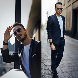 I N F A S H I O N I T Y a style story - The Kooples Navy Jacket, Dior Homme Mirrored Eyewear - SIMPLE