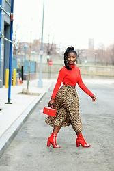 Prisla B - French Connection Uk Turtleneck Sweater, Steve Madden Red Boots - :Leopard Skirt: