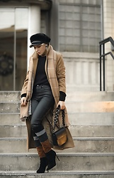 Isabel Alexander - Chriselle Lim Camel Longline Coat, 1822 Coated Black Denim, Pierre Darre Oversized Chain Bag, Nine West Brown Suede Boots - Tan coats & these boots are made for walking