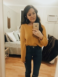 Rye - H&M Gold Sweater, Express High Waisted Jeans - Warm on a cold day