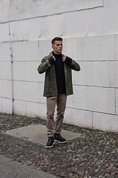 Kevin Elezaj - Native Boots, Scotch & Soda Pants, J. Crew Sweater, Allsaints Jacket - Outdoor