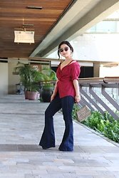 Kristen Tanabe - Shein Twist Button Detail Cami Blouse, Free People Flare Jeans, Vintage Beaded Purse, Miu Butterfly Sunglasses - The Button-Down, Reimagined