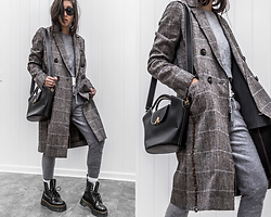 Kristina - Søsken Studios Plaid Jacket, Grana Cashmere Sweats, Esemble Luxury Handbag, Dr. Martin Combat Boots - Plaid jacket and cashmere sweats