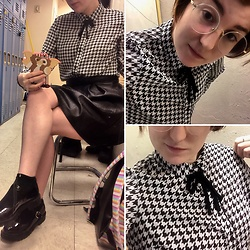 Jack Pal - H&M Blouses, Forever 21 Baby Doll Platform, Thrift Store Pleather Skirt, Firmoo Round Glasses - Black and white ready for work
