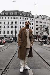 Kevin Elezaj - Sandro Sneakers, Wood Pants, Hope Stockholm Sweater, Vintage Coat, Asos Beanie - Camel