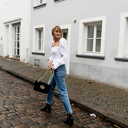 Catherine V. - Missguided Blouse, Levi's® Vintage Jeans, Gucci Marmont Bag, Sacha Boots - THE SQUARE NECKLINE
